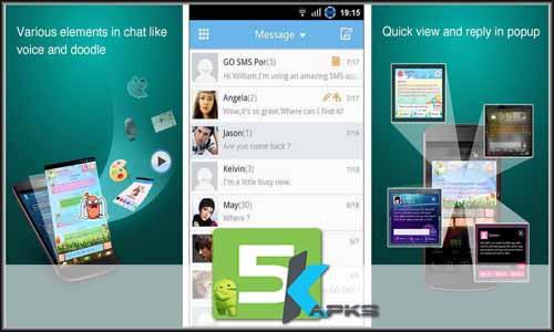 GO SMS Pro v7.2.5 Apk Unlocked+Plugins+Language Packs For Android 5kapks